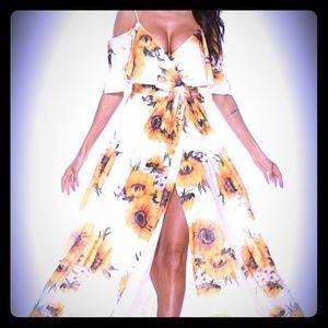 Dresses & Skirts - Sunflower cold shoulder slit maxi dress